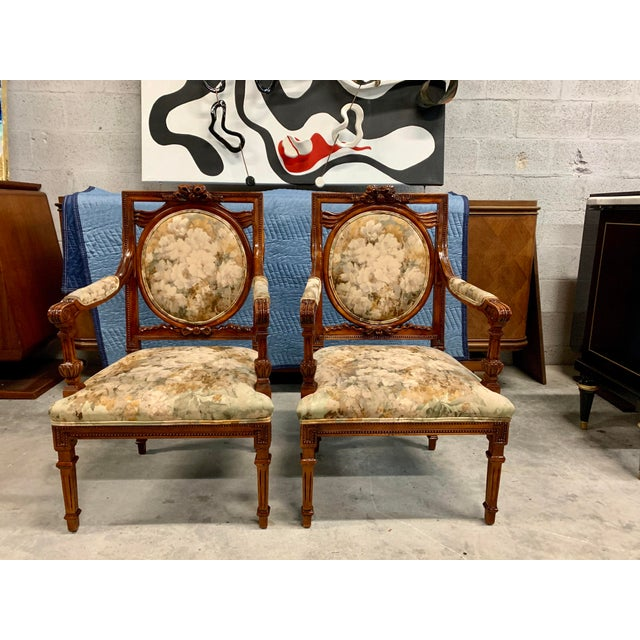 1920s Vintage French Louis XVI Solid Mahogany Accent Chairs or Bergère Chairs - a Pair For Sale - Image 13 of 13