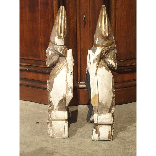 White Carved and Parcel Silvered 17th Century Bishops, Lazio Italy - a Pair For Sale - Image 8 of 13