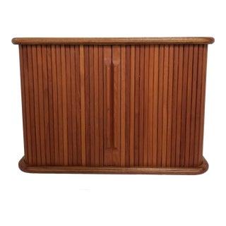 Mid-Century 1970's Teak Tambour Door Wall Mounted Storage Cabinet For Sale