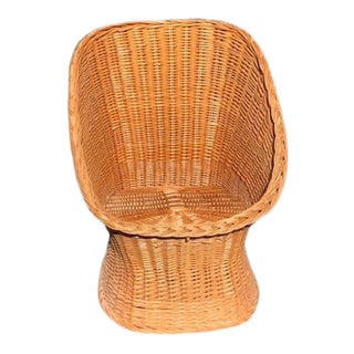 Vintage Mid Century Wicker Bucket Chair For Sale