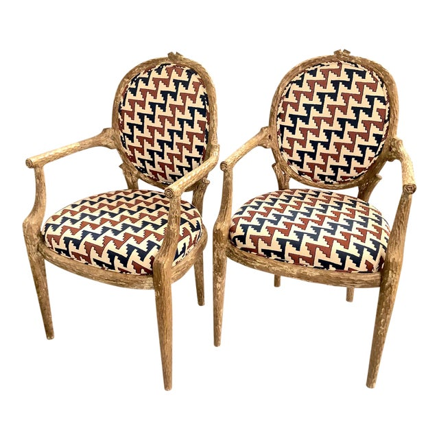 Carved Faux Bois Armchairs - Set of 6 For Sale