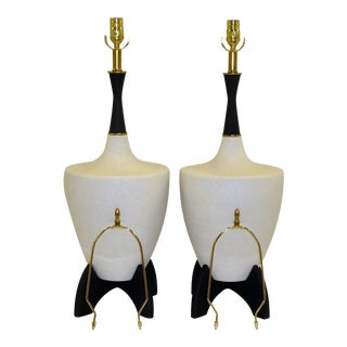 1960s Mid Century Modern Black & White Pottery Table Lamps - a Pair For Sale