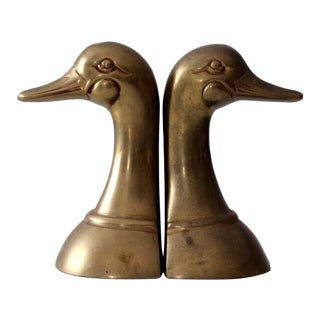 Mid-Century Brass Duck Bookends For Sale