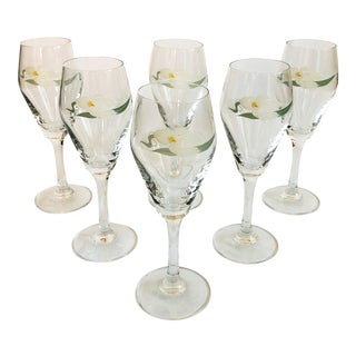 Vintage 1980s Iris Wine Glasses - Set of 6 For Sale