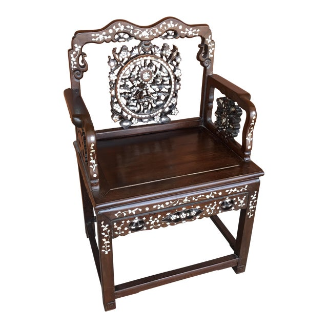 Regal Mother of Pearl Inlaid Asian Side Chair For Sale