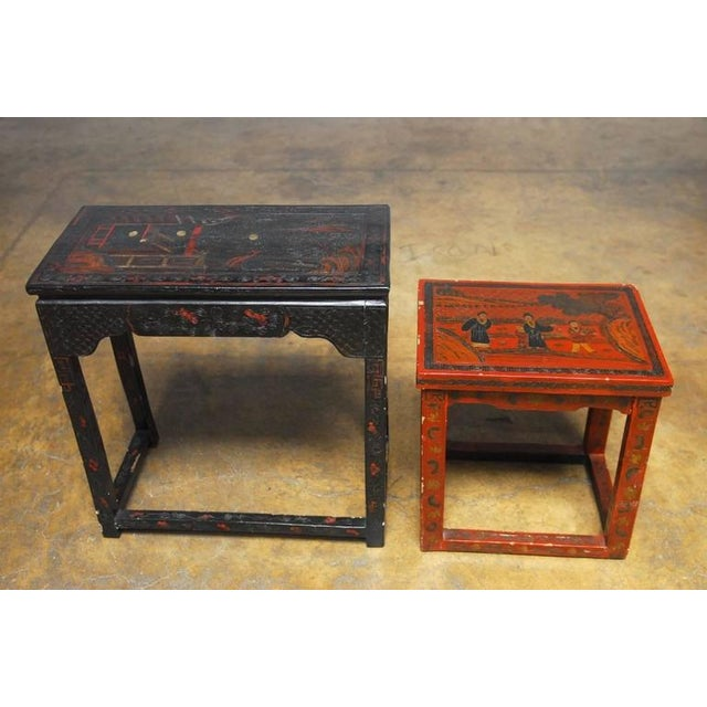 Chinese Coromandel Style Lacquered Nesting Tables A Pair Chairish