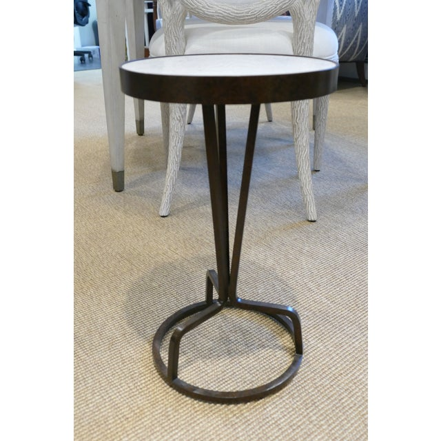 2010s Bunny Williams Wrought Iron and Marble Drink Table For Sale - Image 5 of 5