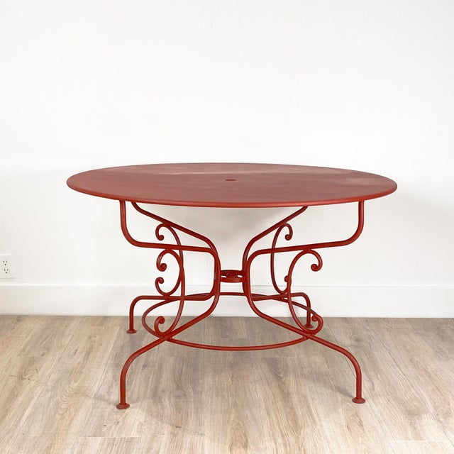 Metal Large Mid-Century Vintage French Red Garden Table For Sale - Image 7 of 7