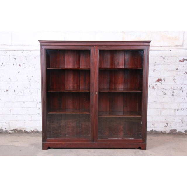 Antique Mahogany Glass Front Double Bookcase, Circa 1900 For Sale - Image 12 of 12