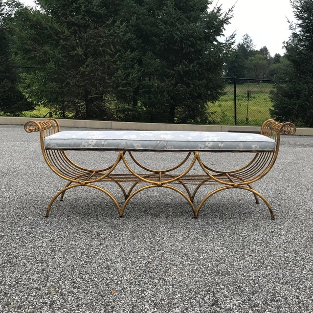 Blue Vintage Mid Century Hollywood Regency Gilt Metal Bench For Sale - Image 8 of 13