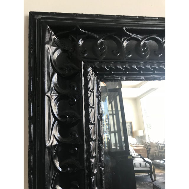 19th Century Antique Tin Ceiling Tile Ebony Floor Mirror For Sale - Image 4 of 6