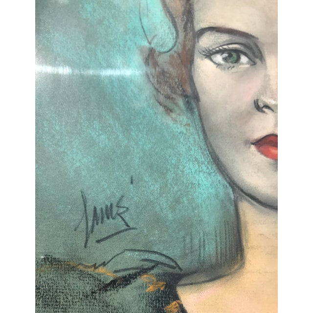 Blue Vintage Chalk Pastels Female Portrait Drawing For Sale - Image 8 of 9