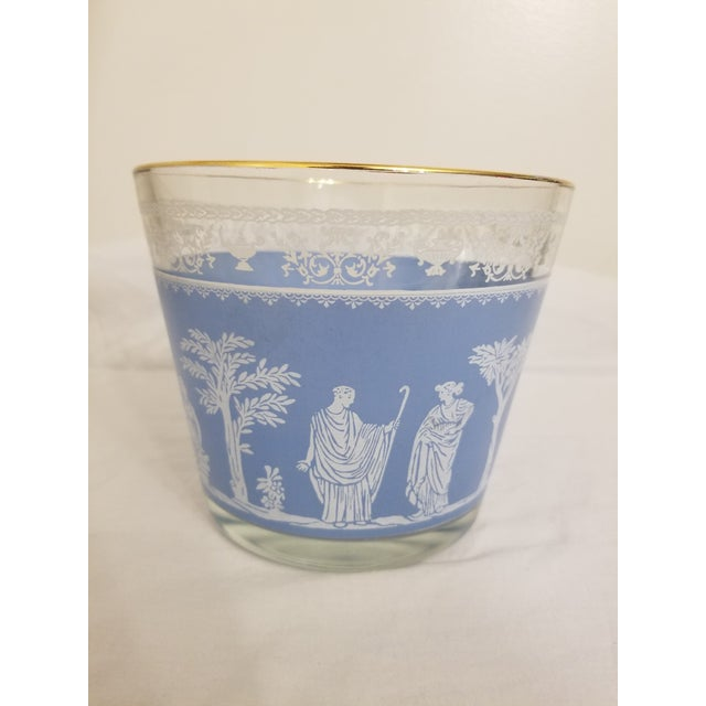 Blue Vintage 1950s Jeanette Glass Co Blue Wedgewood Hellenic Grecian Ice Bucket For Sale - Image 8 of 8