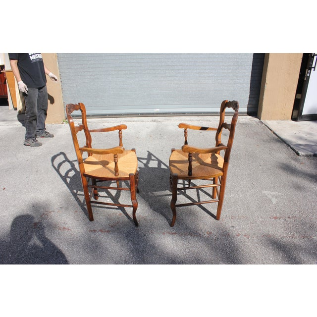 Rush Early 20th Century French Country Rush Seat Solid Walnut Berger Chairs- a Pair For Sale - Image 7 of 13