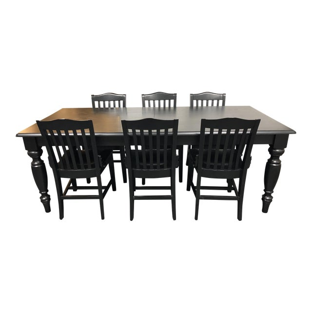 Pottery Barn Francisco Black Table & Six Chairs - Dining Set For Sale