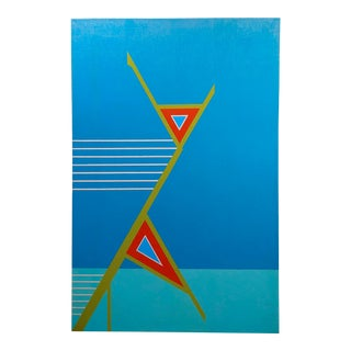 Jack Justice 1960s Abstract Composition of Geometric Hard Edge - Oil Painting For Sale