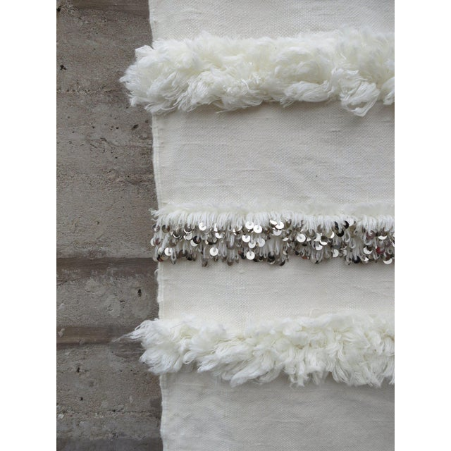 Blanc' Sequins & Fringe Moroccan Wedding Blanket For Sale In Chicago - Image 6 of 6