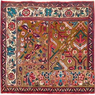 """Vintage Persian Mahal Rug – Size: 3' 1"""" X 3'2"""" For Sale"""