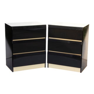 Glossy Black Chest Dressers or Nightstands - a Pair For Sale