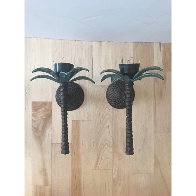 Cast Iron Palm Tree Sconces - A Pair - Image 2 of 8