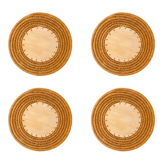 Round Sisal & Wood Solid Coasters in Caramel - Set of 4 For Sale
