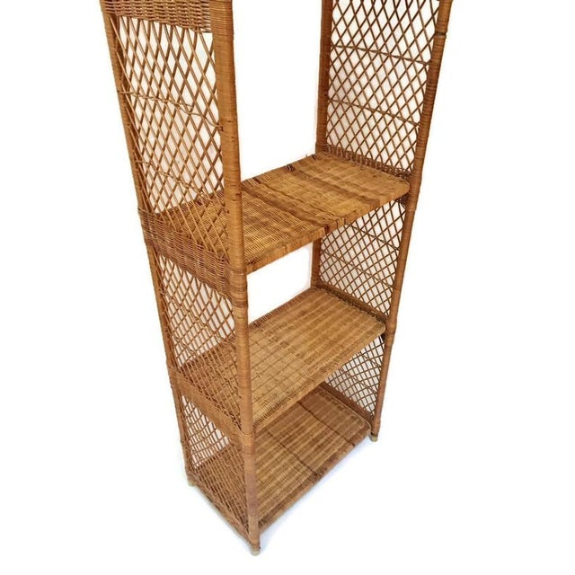 Vintage Domed Rattan Etagere Danny Fong Style For Sale In Richmond - Image 6 of 12