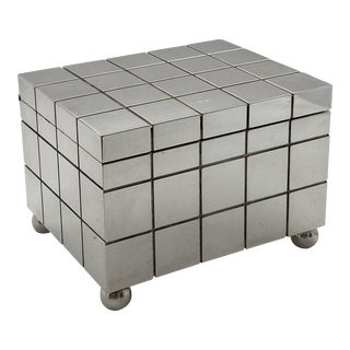 1980's Postmodern Silver Checkerboard Box by Richard Meier for Swid Powell For Sale