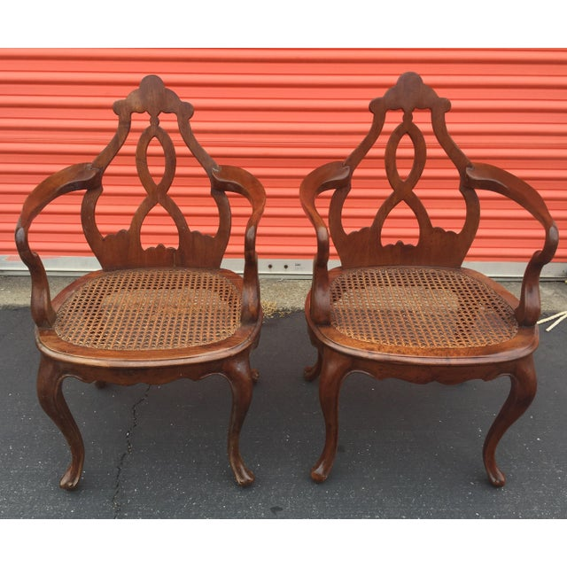 Antique Italian Renaissance Revival Arm Chairs a Pair For Sale - Image 13 of 13