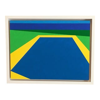 """""""Scene 257"""" Pool Scene With Ocean View, Blues, Green, Geometric Painting For Sale"""