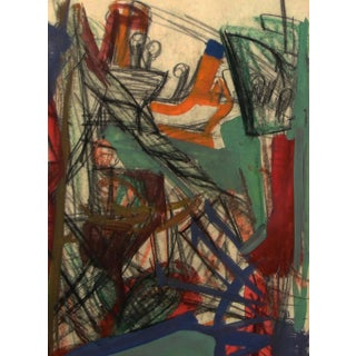 Ship Yard by Josef Presser, Abstract Expressionist Painting For Sale