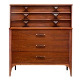 Image of 1960s Walnut Highboy by Kent Coffey for Perspecta For Sale