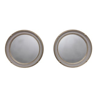 Vintage White and Gold Round Mirrors - A Pair