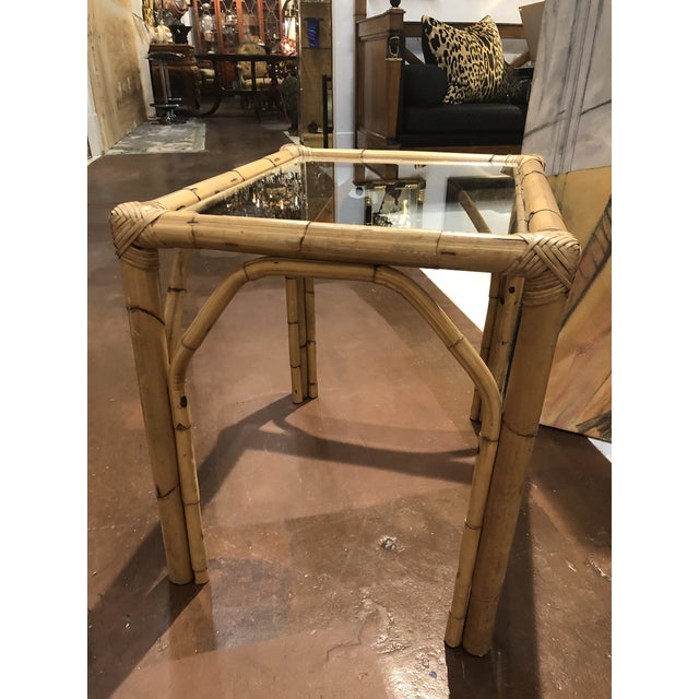 Wood Glass Top Bamboo Side Tables - a Pair For Sale - Image 7 of 13