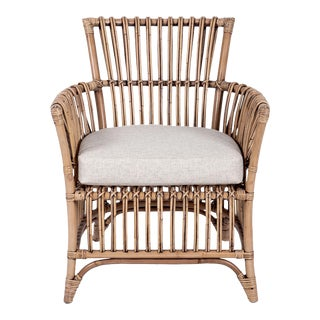 Boho Arm Chair, Camel, Rattan For Sale