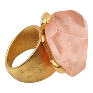 Dominique Denaive Pink Resin Rock Cocktail Ring For Sale