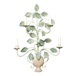 20th Century Organic Modern Light Leaf Pattern Electrified Sconce