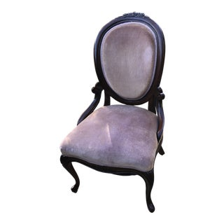 Pink Velvet Accent Chair With Hand Carved Rose Details For Sale
