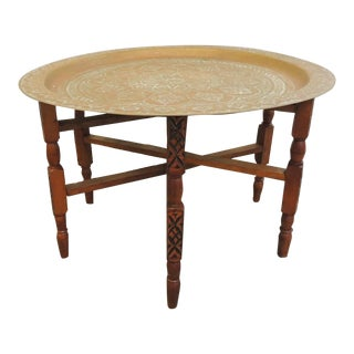 Large Moroccan Brass Tray Coffee Table With Folding Stand For Sale
