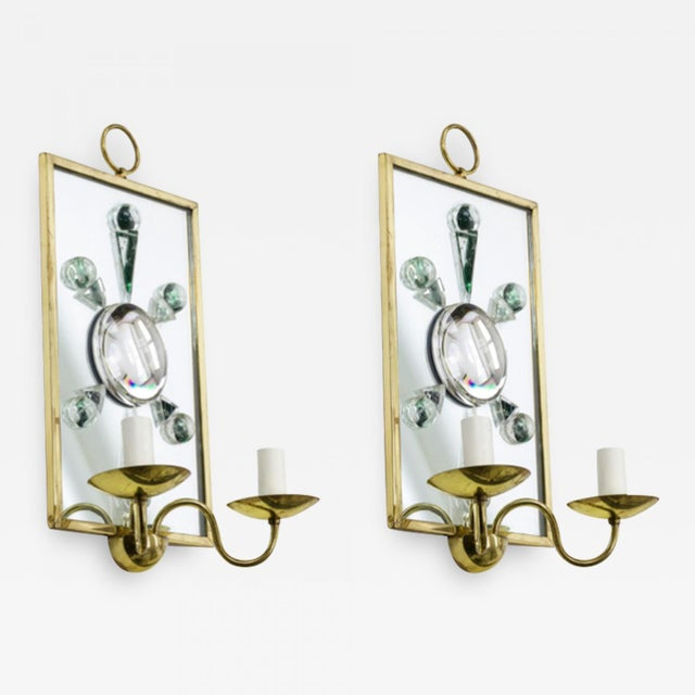 Andre Hayat Andre Hayat Pair of Rock Mirrored Crystal and Gold Bronze Pair of Sconces. For Sale - Image 4 of 5