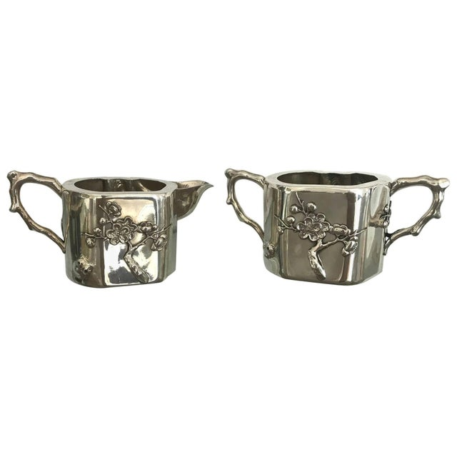 Chinese Export Sterling Silver Creamer and Sugar Luen Wo - A Pair For Sale - Image 10 of 10