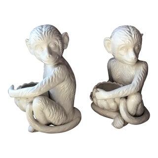 Vintage White Ceramic Monkey Planters - a Pair For Sale