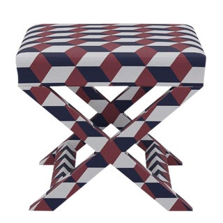 X Bench in Red Navy Cube For Sale