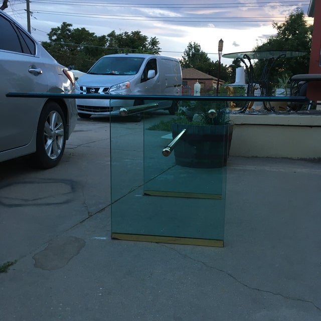 Glass and Brass Mid-Century Modern Dining Table by Pace For Sale - Image 11 of 13