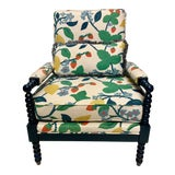 Image of Navy Lacquered Spool Club Chair For Sale