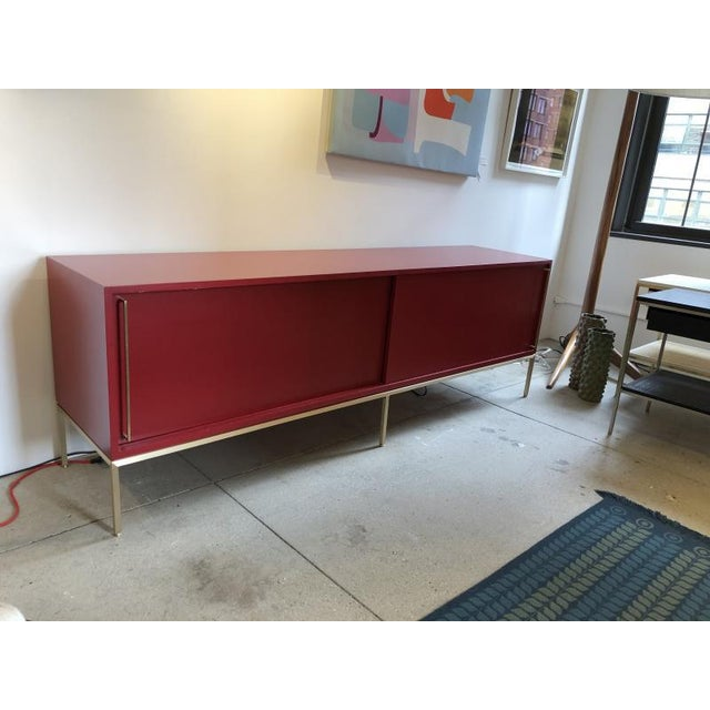 Re: 379 Credenza With Red Lacquered Case on Satin Brass Frame-Floor Model For Sale - Image 4 of 6