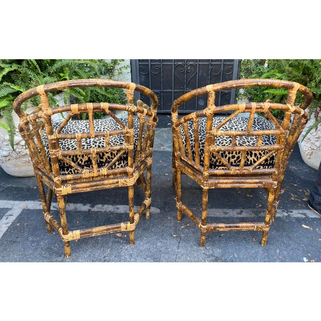 Regency Style Bamboo Barrel Chairs W Cheetah Cushions - a Pair For Sale - Image 4 of 5