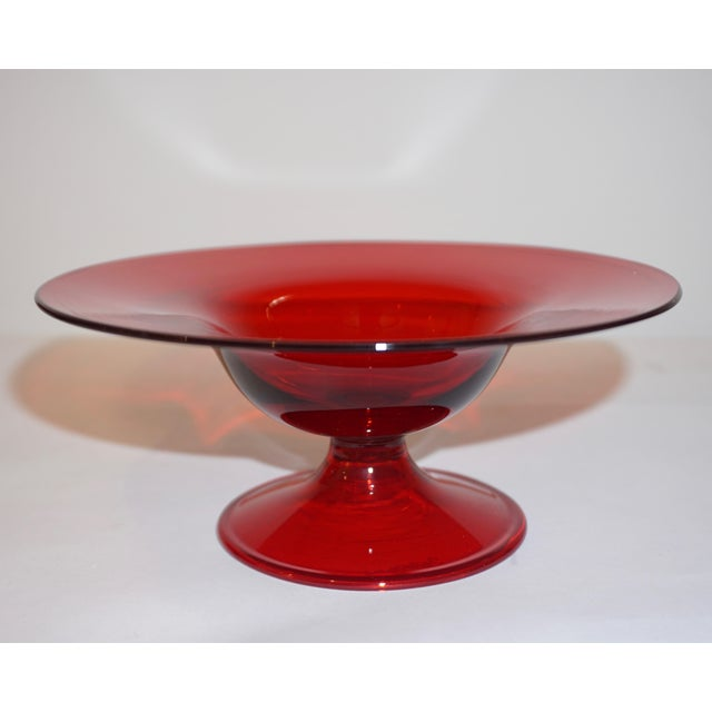 Glass Salviati 1940s Italian Antique Ruby Red Blown Murano Glass Compote Bowls - a Pair For Sale - Image 7 of 10