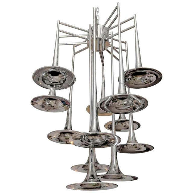 Vintage chrome Trumpet Chandelier by Reggiani, Italy For Sale In Boston - Image 6 of 6