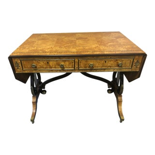 1980s Vintage Birdseye Maple Lyre Motife Writing Desk For Sale
