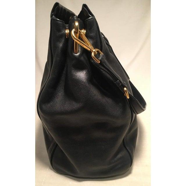Prada Black Leather Saffiano Top Handle Tote Shoulder Bag For Sale - Image 4 of 11